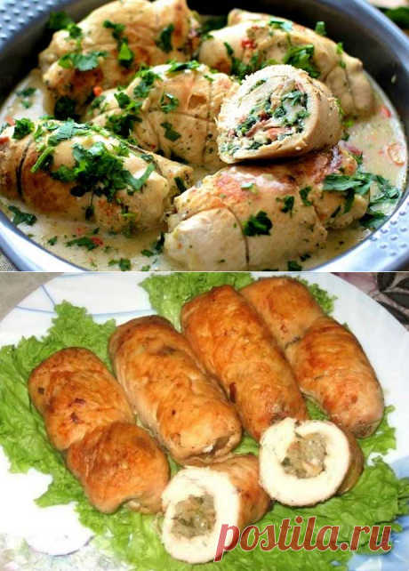 Куриные рулетики с грибами и сыром в сливочном соусе
