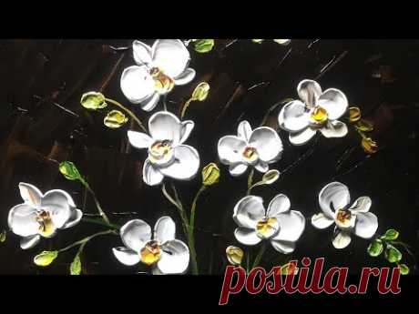 White orchid on wood -  Palette Knife Painting