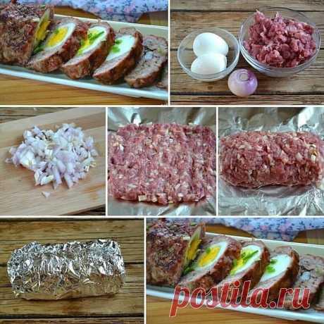 Готовим дома. Мясной рулет с яйцом в духовке.    Ингредиенты:  -Фарш свиной: 350 Грамм,  -Яйцо куриное: 2 Штуки,  -Лук репчатый: 1 Штука,  -Чеснок: 1 Зубчик,  -Соль, перец: По вкусу    Приготовление:  Подготовьте все необходимые ингредиенты. Фарш я использую свиной, но вы можете взять любой другой, который вам больше нравится.  Лук мелко порубите. Обычно в фарш я измельчаю лук с помощью блендера или мясорубки, тогда он практически не чувствуется в фарше, а лишь отдает свой...