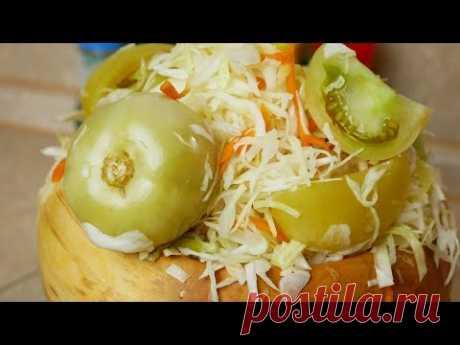 Квашеные ПОМИДОРЫ с капустой. ЗЕЛЁНЫЕ помидоры на зиму,цыганка готовит. Gipsy cuisine.