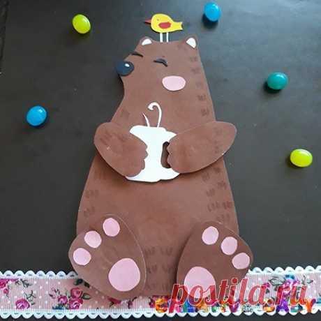 """Аппликация """"Мишка пьет чай"""" (с шаблоном) Предлагаем сделать красивую объёмную аппликацию с мечтающим о чём-то медведем. Как вы думаете о чём мечтает этот большой мишка?"""
