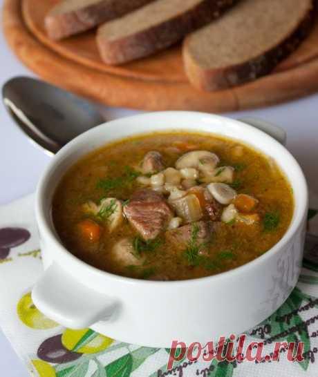 Пошаговый фото-рецепт супа из говядины с грибами и перловкой   Первые блюда   Вкусный блог - рецепты под настроение