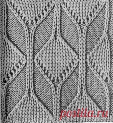 Красивый узор спицами для джемпера или пуловера