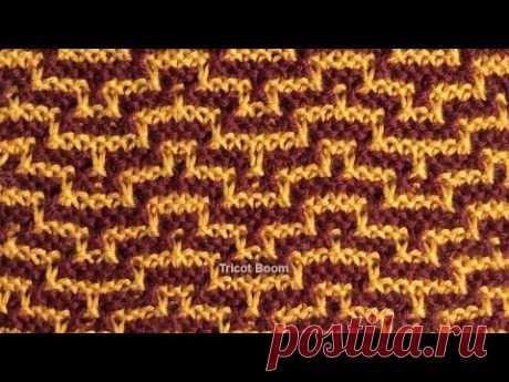 Узор из ломаных линий / Мозаика / Вязание спицами.