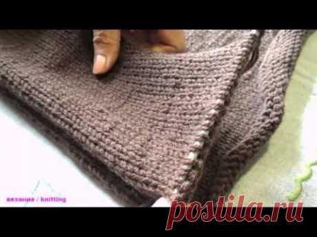 Вязание передних планок тёплой кофты  /  Вязание спицами .