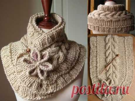 """Beautiful scarf spokes\"""" the Thread - knitted things for your house, knitting by a hook, knitting by spokes, schemes of knitting"""