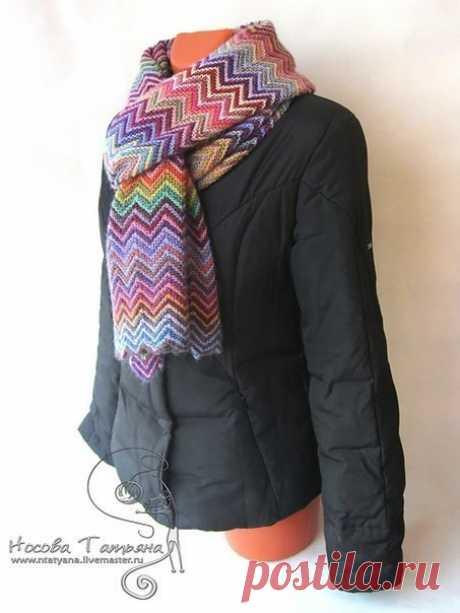 Позитивный шарф (Вязание спицами) | Журнал Вдохновение Рукодельницы