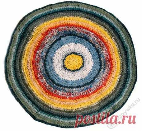 Коврик круглый цветной вязаный крючком - купить | Вещи ручной работы | HANDMADE интернет-магазин