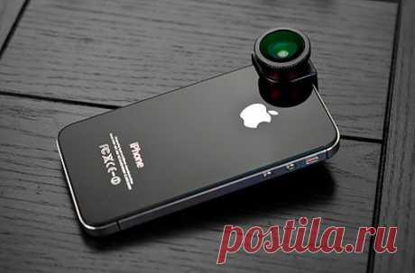 Объектив-насадка для iPhone - 1043 руб - внутри расположены три линзы: широкоугольный объектив 120°, макрообъектив с 10-кратным увеличением 10x Macro, а также объектив «рыбий глаз»