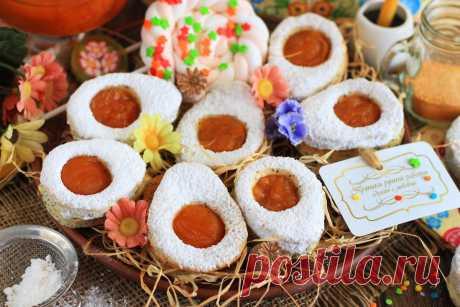 Творожное печенье «Пасхальные яйца» с абрикосовым джемом. Пошаговый рецепт с фото