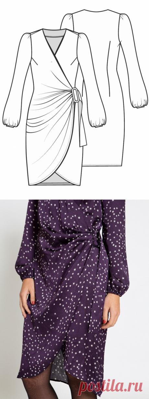 Платье с запахом - выкройка № 5 из журнала 3/2021 Burda. Extra – выкройки платьев на Burdastyle.ru