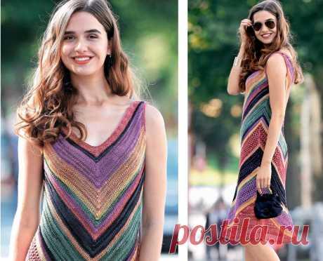 Разноцветное летнее платье (Вязание спицами) Платье с симметричным V-образным вырезом горловины подкупает крупным зигзагообразным узором и сочетанием ярких цветов пряжи. РАЗМЕРЫ 36/38 (40/42) ВАМ ПОТРЕБУЕТСЯ Пряжа (60% вискозы, 32% хлопка, 8%…