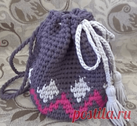Схема рюкзака крючком из трикотажной. Как связать рюкзак крючком: идеи, описание, выбор пряжи. Рюкзак в виде божьей коровки