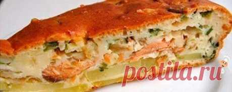 Быстрый пирог с рыбными консервами и картофелем