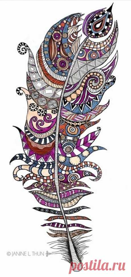 Zentangle inspired Feather, Doodle, 2013, © Janine...
