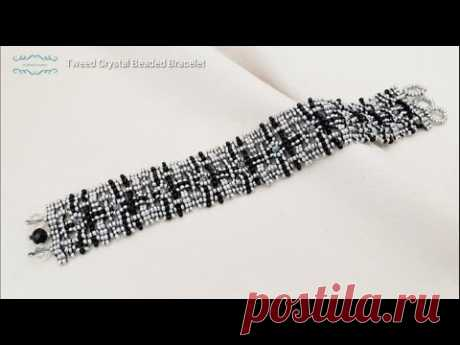 How to make a Tweed Crystal Beaded Bracelet. Beads jewelry making. Beading tutorials. - YouTube