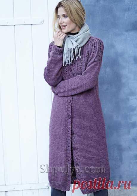Пальто с ажурной кокеткой спицами — Shpulya.com - схемы с описанием для вязания спицами и крючком