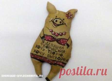 Чердачная игрушка свинка своими руками в МК для начинающих
