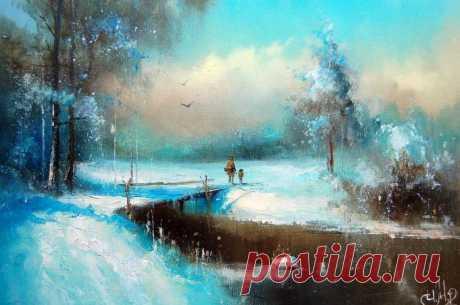Художник Игорь Медведев. Симфония снега и лунного света