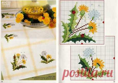 Схемы цветочных мотивов для салфеток