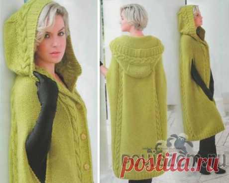 Экстравагантное пальто-пончо спицами