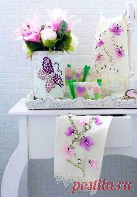 Вышивка бабочек лентами — Сделай сам, идеи для творчества - DIY Ideas