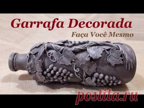 Garrafa decorada - Parreira de uvas modeladas com a massa de biscuit - YouTube