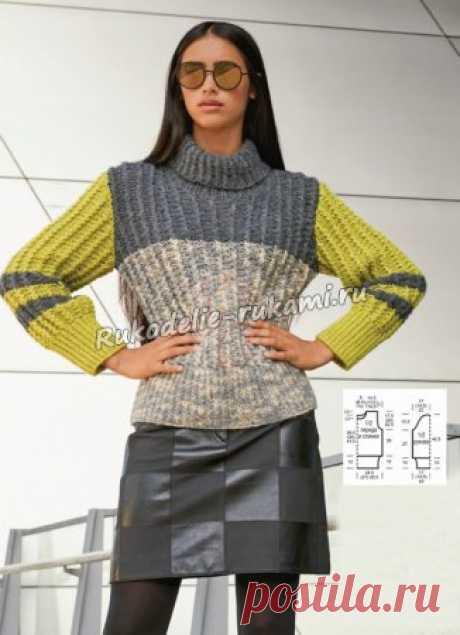 Пуловер с узором из разноцветных блоков спицами