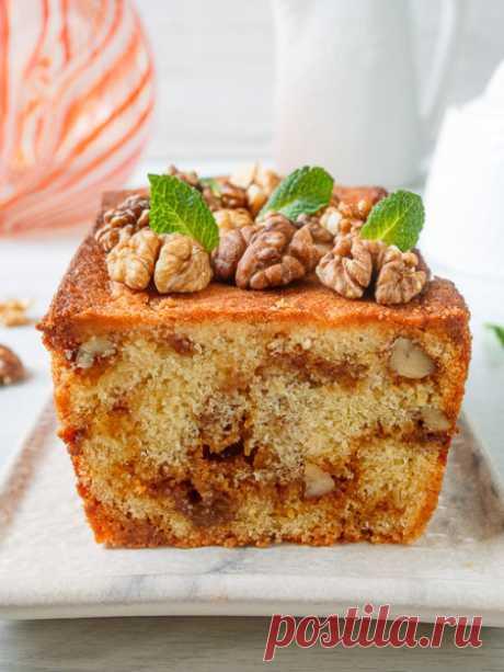 Рецепт карамельного кекса с грецкими орехами на Вкусном Блоге