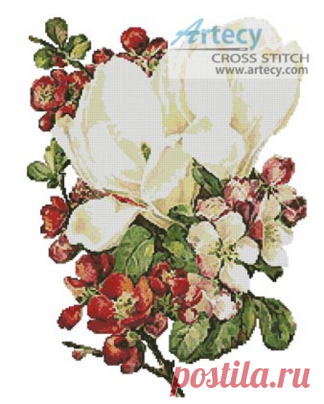Artecy Cross Stitch. Flowering Shrubs Counted Cross Stitch Pattern to print online.