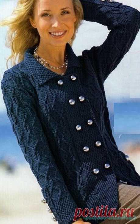 Стильный жакет спицами — Красивое вязание
