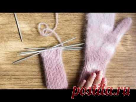Вяжем варежки с анатомическим пальцем спицами | Прибавки петель для ладони и большого пальца