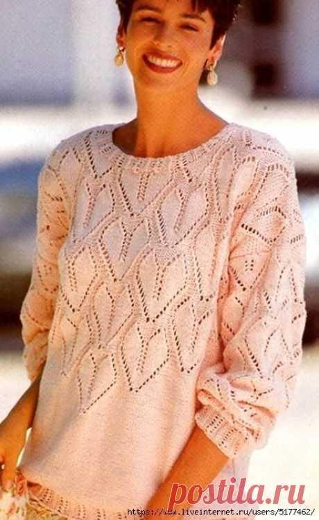 Пуловер ажурными сердечками. Схема