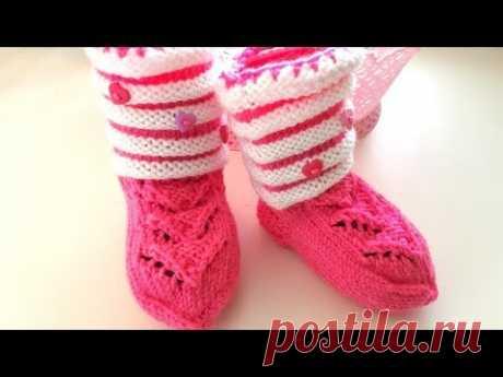 Детские носочки - пинетки спицами с ажурным узором