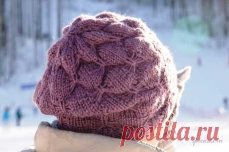 Шапочка «Распустившийся пион» / Вязание спицами / Вязание для женщин спицами. Схемы вязания спицами
