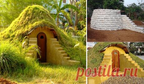 Как из мешков с землей и глиной создать очаровательный домик на даче