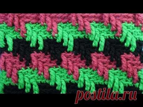 Шикарный узор для шапки  Crochet stitches   Вязание крючком 112