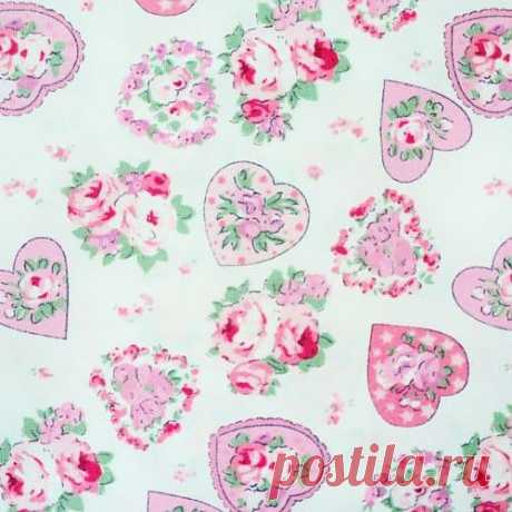 HEAVENLY HEARTS - PINK & GREEN - COTTON FABRIC per m ROMANTIC CHIC patchwork | eBay
