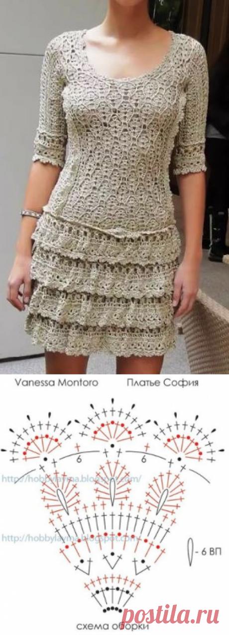 Вязаное платье крючком София от Ванессы Монторо - схема  платья крючком