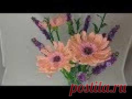 Гербера из бисера Мастер класс Бисероплетение Цветы из бисера Beaded gerbera flower tutorial