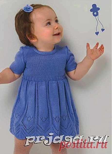 Платье, вязание спицами детям до года схемы