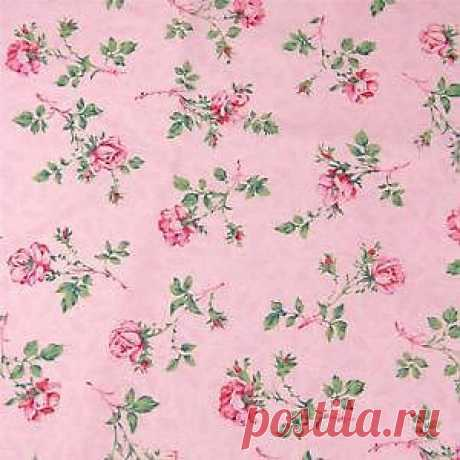 Vintage Cotton Fabric by Peter Pan Small Pink Roses on Pink Floral per FQ | eBay