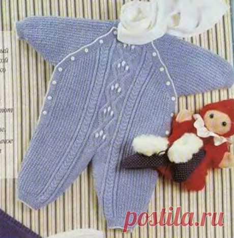 Вязаный голубой комбинезон для новорожденного | Вязание спицами и крючком – Азбука вязания