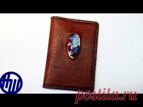 Обложка для паспорта с камнем. Натуральная кожа