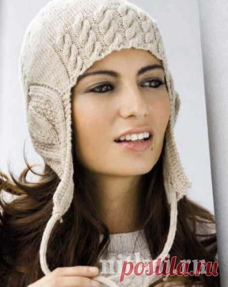 Женская шапка спицами с красивыми узорами » Ниткой - вязаные вещи для вашего дома, вязание крючком, вязание спицами, схемы вязания