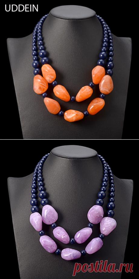 Uddein чешские Макси ожерелье женщины двойной слой бусы смолы драгоценные старинные себе колье ожерелье и кулон ювелирные изделия купить на AliExpress