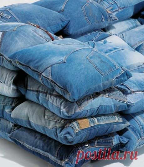 100 примеров того как можно сшить интересные квадратные подушки из старых джинсов | МНЕ ИНТЕРЕСНО | Яндекс Дзен