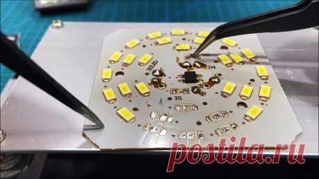 Как сделать мини станцию для пайки SMD компонентов без фена Повсюду применяют устройства и приборы содержащие SMD компоненты. Сегодня все светодиодные светильники сделаны по LED технологии. Излучающие световой поток элементы — не что иное, как светодиоды. Как любой полупроводниковый SMD элемент, светодиод может выйти из строя. Замена элементов с помощью