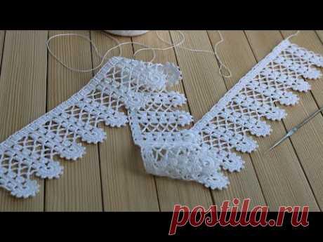 ЛЕНТОЧНОЕ КРУЖЕВО вязание крючком КАЙМА схема вязания мастер-класс How to Crochet Lace Tape Ribbon
