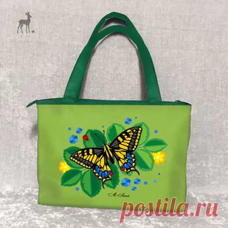 Краски лета: модель в салатовом цвете #зеленаясумка #салатоваясумка #сумкасбабочкой #бабочканасумке #махаон #сумкасросписью #женскиесумки #яркиесумки #сумки2019 #сумкиназаказ